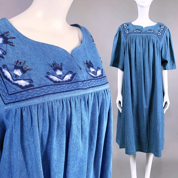 40006cab38 Plus 2X Chambray Denim Pocket Caftan MuMu Dress